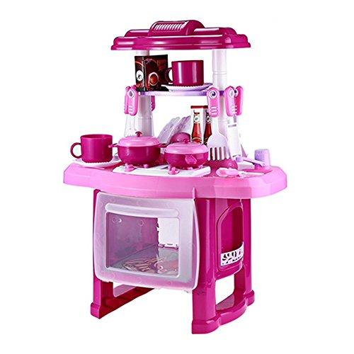 ZREAL Kinder Küche Kochen Rollenspiel Spielzeug Set mit Licht Sound-Effekt vorgeben (Spielzeug Küche Mädchen)