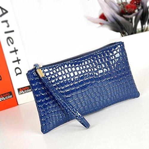 Damen Handtasche Tasche,Huihong Modische PU Krokodilleder Kupplung MüNze GeldböRse Blau