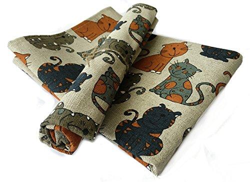 Jowollina 2er-Set: Geschirrtücher Küchenhandtücher Handtücher Katze orange 50x70 cm Leinenmischung