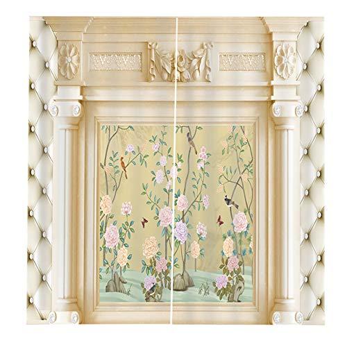 EdBerk74 150 * 166 cortinas para la sala de Estar Dormitorio Cortinas Fondo en Relieve Impreso Sun Shading Garden Style-Color