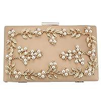 Womens Pearl Evening Clutch Evening Bag Purse Handbag for Wedding Party (Beige)