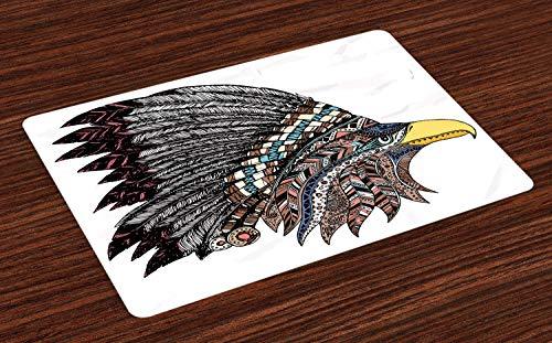 ABAKUHAUS Adler Platzmatten, Stammes-Kultur inspiriert handgezeichnete Adler in gefiederten entworfen Kopfschmuck Hippie-Stil, Tiscjdeco aus Farbfesten Stoff für das Esszimmer und Küch, ()