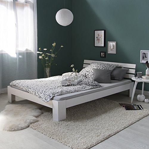 Homestyle4u 1821, Holzbett 140×200, Doppelbett mit Lattenrost, Weiss, Kiefer Massivholz