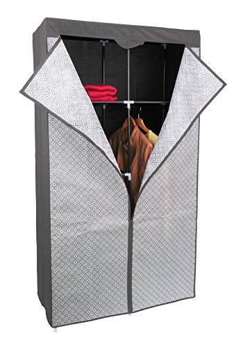 Kleiderschrank PRO ART 3397 STAHLGRAU mit Rauten 160 x 88 x 45 cm Regalsystem Stoffschrank...