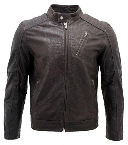Herren Entwerfer Braun Bikerjacke aus Leder XL