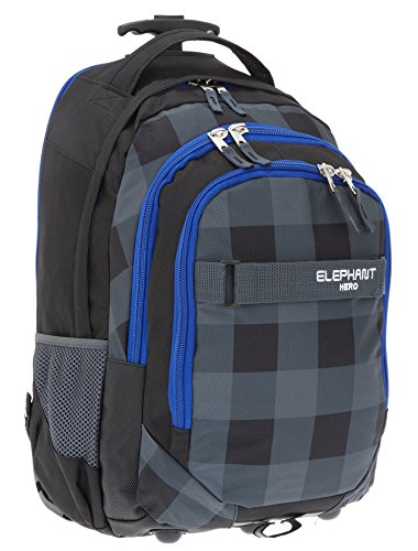 Elephant Trolley Hero Signature Trolleyrucksack Rucksack Schultrolley (Plaid Black)