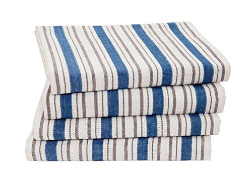 Baumwolle Craft–4Pack Oversize Küche Handtücher, 20x 30, Pure 100% Baumwolle, Crisp Basket Weave gestreift Muster, praktischen Schlaufe zum Aufhängen–saugstark, professionelle Klasse, weich trotzdem stabil azurblau