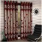 Italian Fab Gulab Panel Polyester Curtains (Set of 4) Long Door - 4 x 9 Feet (Color-Maroon)