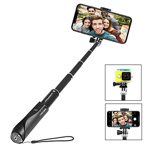 Perche Selfie Bluetooth, FReatech Selfie Stick Monopode Extensible avec Obturateur Sans fil Bluetooth Intégré pour iPhone X/8/7/6s/6 Plus, Galaxy S9/S8/S8 Plus/Note 8 et Autres Smartphones iOS, Android