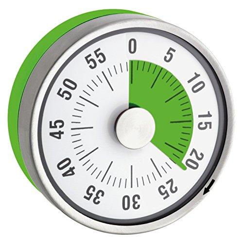 """TimeTex Zeitdauer-Uhr \""""Automatik\"""" Compact - grüne Scheibe - mit Magnet - zeigt Restzeit an - Durchmesser 78 mm - läuft ohne Batterien - 61972"""