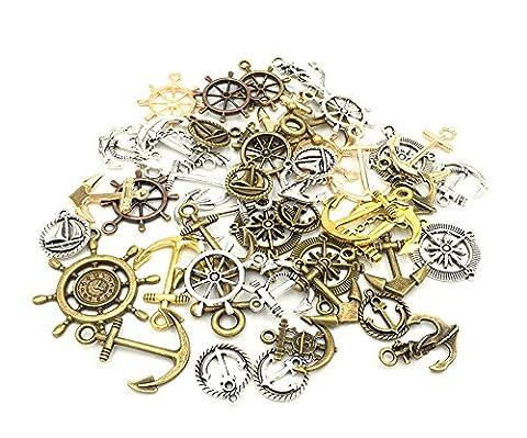 mixte tibétain Assortiment de formes et de tailles Charms Pendentifs Ship wheel Anchor