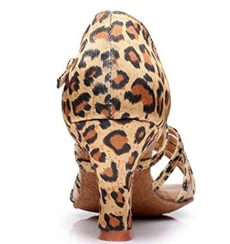 Kuki Femmes Adultes Avec Des Chaussures De Danse Latine À Talons Hauts, Des Chaussures Latines Avec Des Bas De Femmes En Satin Doux 3