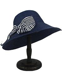 Gr Sonnenhut der Frauen mit Bowknot-Strohbooterhut (Color : Draw Blue, Größe : 56-58cm)