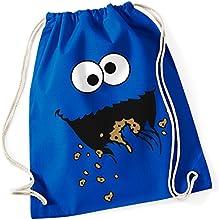 Monstruo/Cookie Monster/Sesam Calle/100% algodón Turn Bolsa con texto impreso y diseño/UNI Size, Onesize, regalo ideal/Unisex/Colores: Rosa, Azul, Verde/mochila, bolsa, yute Tasch, yute Bolsa/Hipster Fashion/vanverden