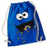 Krümelmonster Sesamstraße Cookie Monster / Turnbeutel mit Fun Motiv Aufdruck Rucksack GYM Jutebeutel / Ideales Geschenk, Color:Bright Royal (Blau)