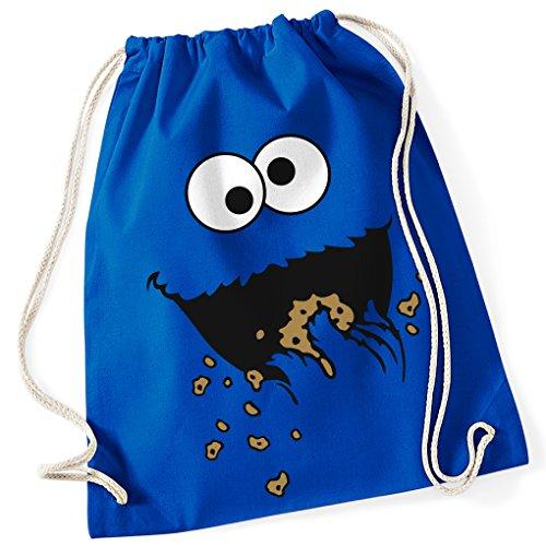 Krümelmonster Sesamstraße Cookie Monster / Turnbeutel mit Fun Motiv Aufdruck Rucksack GYM Jutebeutel / Ideales Geschenk, Color:Bright Royal (Blau) (Cookie Monster Rucksack)