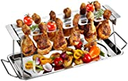 Gefu GE89259- Supporto per Cosce di Pollo, Barbecue, in Acciaio Inox, 43,5 x 15,8 x 15,5 cm