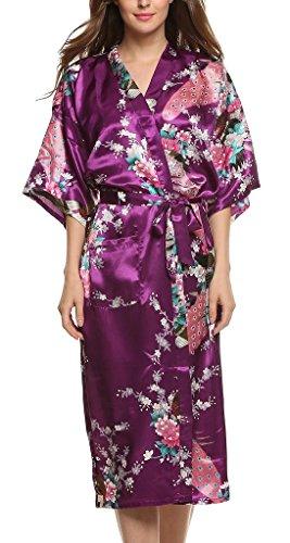 Damen Morgenmantel Kimono Robe Bademantel Nachtw?sche kurz aus Satin mit Peacock und Bl¨¹ten entwerfen Robe f¨¹r Hochzeit & Party & Schlafzimmer Lange Stil Lila M (Kimono Lila)