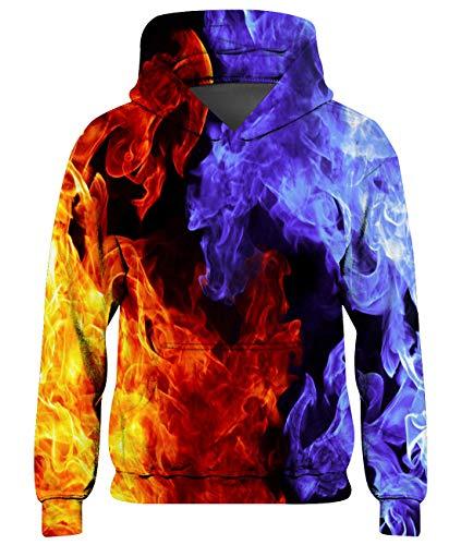 Goodstoworld Teenager Mädchen Hoodie Kinder Jungen Pullover Coole EIS Feuer 3D Druck Kapuzenpullover Sweatshirt Kleider