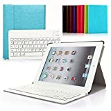 iPad 2 3 4 Deutsche Bluetooth Tastatur,CoastaCloud Ultra-Thin QWERTZ Deutsche Bluetooth Tastatur Keyboard Case für Apple iPad 2 (A1395 A1396 A1397) ; iPad 3 (A1416 A1430 A1403); iPad 4 (A1458 A1459 A1460)Azurblau