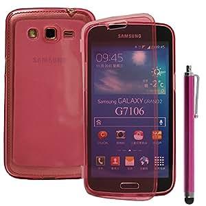 VCOMP® Samsung Galaxy Grand 2 SM-G7100 SM-G7102 SM-G7105 SM-G7106: Coque silicone gel Portefeuille Livre rabat + stylet - ROSE