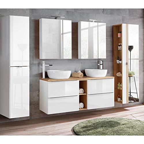 möbel Set mit Doppel-Waschtisch inkl. 2 Keramik-Aufsatzbecken 50cm, Hochglanz weiß & Wotaneiche inkl. LED-Spiegelschrank ()