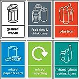 Étiquette/Autocollant poubelle de recyclage Lot de 6 stickers en vinyle autocollant 150 mm x 100 mm