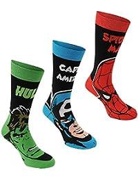Marvel Comics para hombre calcetines de Spiderman Hulk Capitán América 3Pack 7–11