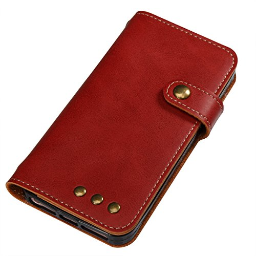 Étui en cuir pour iPhone 5s, Lifetrut [Machines à sous en carte] Étui de Portefeuille en Cuir élégant Flip Folio en cuir avec Boucle Latérale et Doublure pour iPhone 5s [Rouge] E204-Rouge