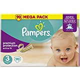 Pampers - Active Fit - Couches Taille 3 (5-9 kg/Midi) - Mega Pack (x90 couches)