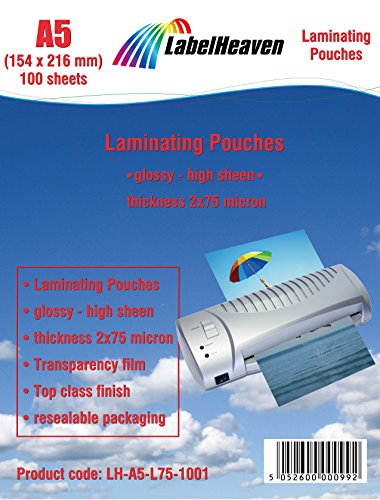100 Laminierfolien DIN A5 (154x216mm) LH-A5-L75-1001 von LabelHeaven