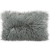 CelinaTex - Cuscino in finta pelliccia di montone , Tessuto, Grau, Kissen 40 x 60 cm