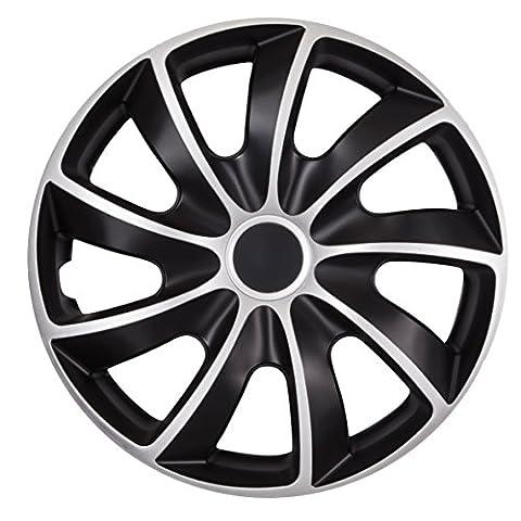 Radzierblende QUAD BICOLOR schwarz/silber 16 Zoll 4er Set (Schwarz 18 Wheels)