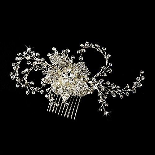Silver-Tone Clear Rhinestone & Crystal Flower Bridal Comb