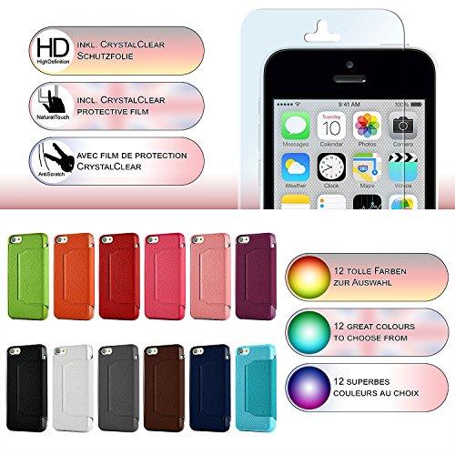 iPhone 5C Hülle Hell-Blau mit Sicht-Fenster [OneFlow Window Cover] Schutzhülle Ultra-Slim Handyhülle für iPhone 5C Case Flip Handy-Tasche Stand-Funktion ROT