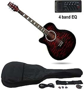 benson left handed 39 tiger print 39 electric electro semi acoustic guitar bundle tigerburst red. Black Bedroom Furniture Sets. Home Design Ideas