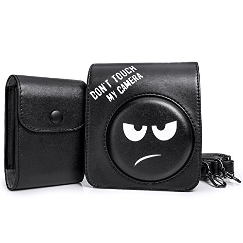 Woodmin Pelle Sintetica protettiva 2-in-1 Set accessori per Fujifilm Instax Mini 70 Camera Nero(Camera Case/Foto Bag)