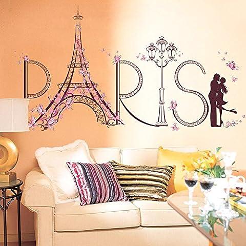 Wallpark Créatif Rose Fleur Papillon Paris Tour Eiffel Romantique Embrasser Amoureux Amovible Stickers Muraux Autocollants, Salon Chambre Maison DIY Décoratif Adhésif Stickers
