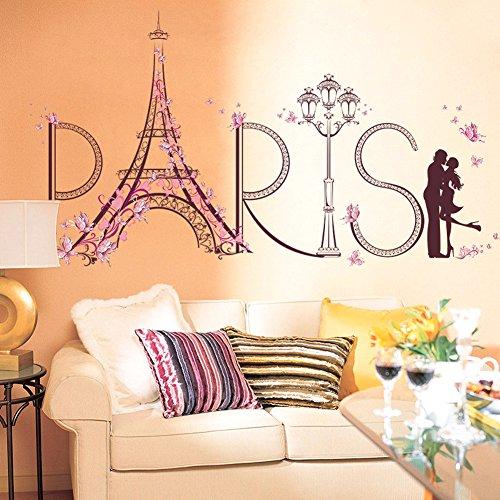 Wallpark Créatif Rose Fleur Papillon Paris Tour Eiffel Romantique Embrasser Amoureux Amovible Stickers Muraux Autocollants, Salon Chambre Maison DIY Décoratif Adhésif Stickers Mural