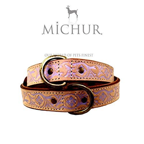 MICHUR CREEK, Hundehalsband, Lederhalsband, Halsband, BEIGE, LEDER, fliederbarbene Stanzungen, in verschiedenen Größen erhältlich