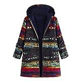 OIKAY Plus Größe Damen Mit Kapuze Langarm Baumwolle Leinen Flauschigen Pelz Reißverschluss Outwear Mäntel(S3-Orange/EU-40/XL