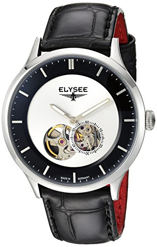 Elysee Nestor Mens Watch Black/Silver with Black Leather Strap