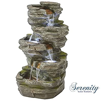 Durable 5 Tier Stone Effect Cascading Rock Pool Garden Water Feature with LED Lights for Indoor & Outdoor Use, 100cm Tall from Clifford James