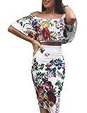 Boutiquefeel Damen Blumen Bedruckt Schulterfreie Cropp Top&Rock Sets Weiß S