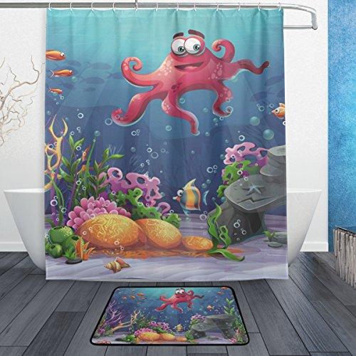 jstel Octopus Coral und bunte Reefs Algen Sand 3-teiliges Badezimmer Set, maschinenwaschbar für den täglichen Gebrauch, inkl. 152,4x 182,9cm Wasserdicht Duschvorhang, 12Dusche Haken und 1rutschfeste Badezimmer (Coral Reef Duschvorhang)