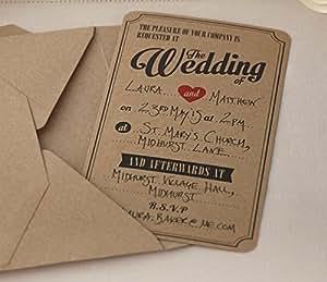 ginger ray brown de mariage kraft invitations x 10. Black Bedroom Furniture Sets. Home Design Ideas