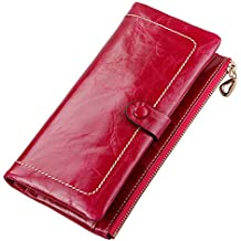 QISHI YUHUA Womens multi-slots Luxury Quality Leather Wallets, mujer, rosso  - rosso