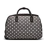 LeahWard® XL Reisetasche Reisegepäck Taschen Wagen Gepäck mit Rads 309 (L.Grau Dot Reisetasche)