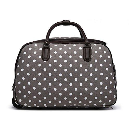 LeahWard® XL Reisetasche Reisegepäck Taschen Wagen Gepäck mit Rads 309 (L.Grau Dot Reisetasche) (Dot Grau Taschen)