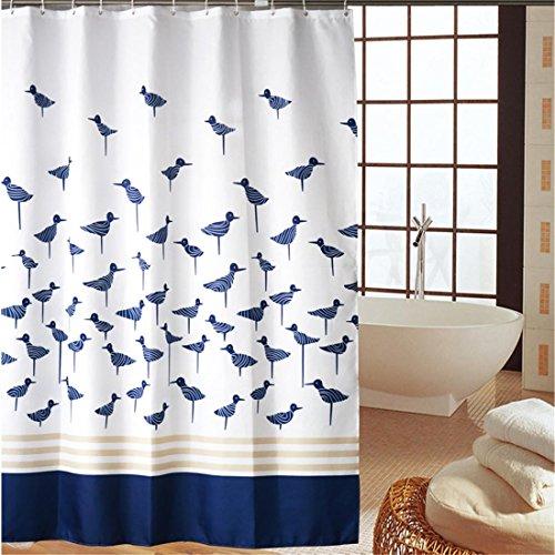 SUNWUKONG 100% Polyester Duschvorhang Weiß, Blau Unterseite Klein Vogel Muster Kein Transparent Textil Waschbar Wasserdicht Bad Waschraum Mit Genug Ringe Haken, 240 * 200cm